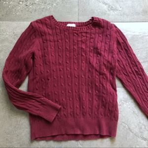 🌻St. John's Bay Cable Maroon Knit Short Sweater